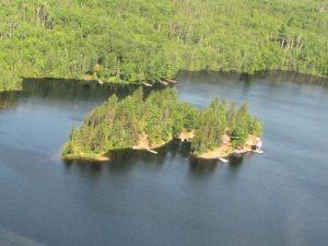 Aerial of Horseshoe Island Camp